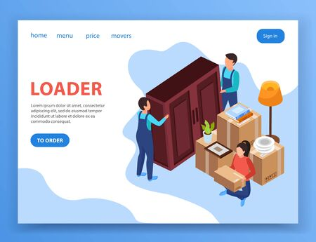 Relocation service page design with loader symbols isometric vector illustration