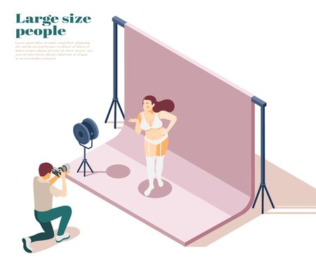 Large people isometric composition with plus size underwear modelling scene overweight fashion obesity promoting normalization vector illustration Stock Illustratie