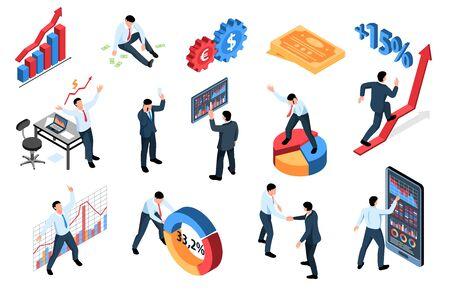 Izometryczny zestaw finansów giełdowych handlu na giełdzie izolowanych ikon ze znakami diagramów wykresów i ilustracją wektorów ludzi