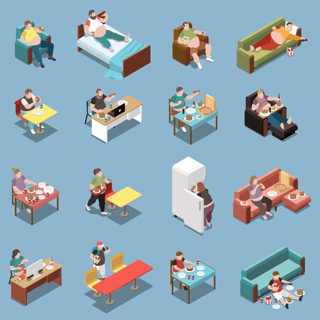 Gluttony isometric colored icons set with overweight people eating fast food at home and cafe 3d isolated vector illustration Ilustracja