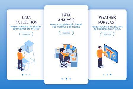 Vertikale Banner des isometrischen meteorologischen Zentrums mit Seitenwechselknöpfen Lesen Sie mehr Schaltflächentext und Bildervektorillustration Vektorgrafik
