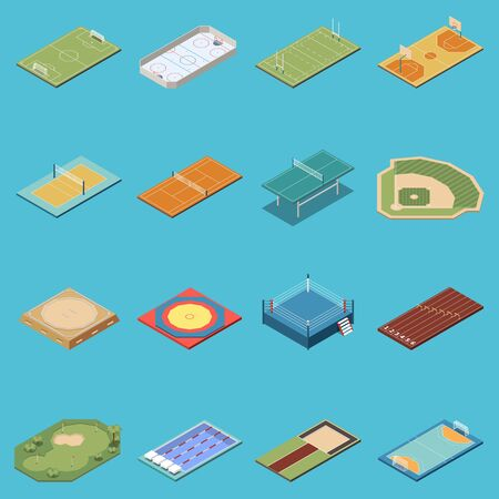 Isometric set of icons with various sport fields lanes courts rings isolated on blue background 3d vector illustration