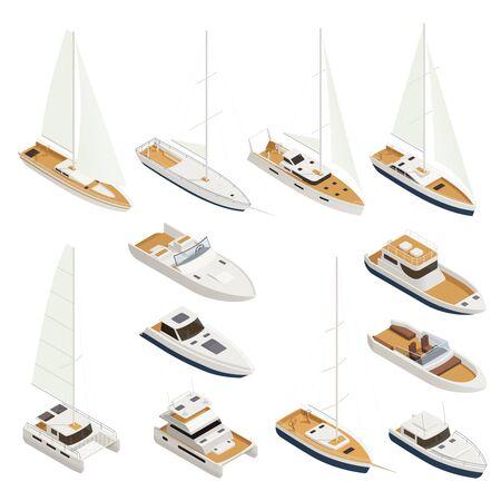Żeglarstwo izometryczne i kolorowe ikony z różnymi typami i rozmiarami ilustracji wektorowych łodzi