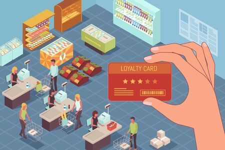 Loyalty program isometric design concept with loyalty card in human hand at trading hall in supermarket background vector illustration Illustration