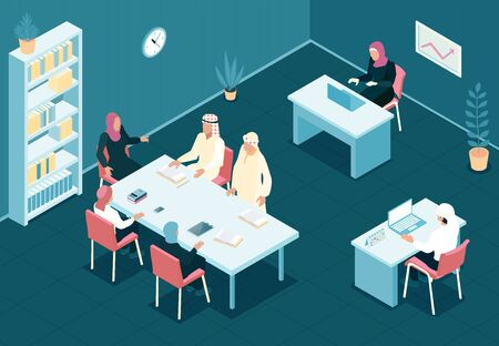 Arab family working together in office 3d isometric vector illustration Illustration