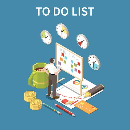 To do list concept with deadline and free time symbols isometric vector illustration Stock Illustratie