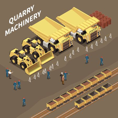 Isometric composition with quarry machinery carts with rocks and miners 3d vector illustration