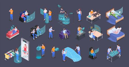 Augmented virtual reality experience icons set with vehicle designers entertainment learning choosing clothes black background vector illustration Çizim