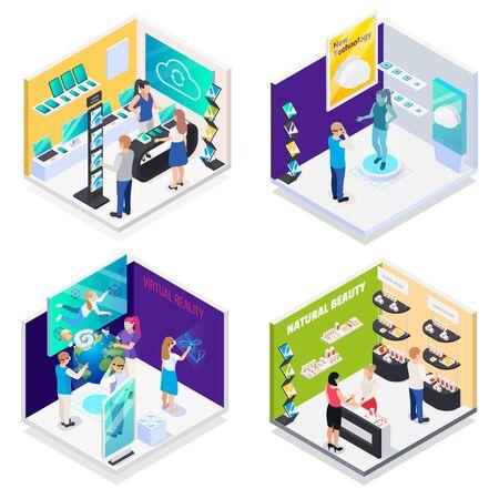Sala de exposiciones de tecnología moderna 4 composiciones isométricas con realidad virtual, demostración interactiva, promoción de electrónica, stands, ilustración vectorial