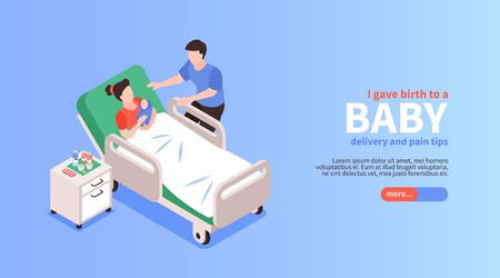 Childbirth isometric horizontal banner with young father near his woman who gave birth to their baby vector illustration