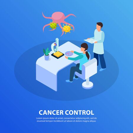 Cancer control isometric blue background symbolic composition with tissue sample laboratory test revealing tumor cells vector illustration