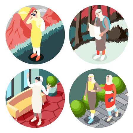 Modern muslim people life aspects concept 4 round isometric compositions with arab saudi islamic clothing vector illustration