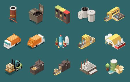 Isometric icons set with rubbish bins containers garbage collecting transport and recycling plants 3d isolated vector illustration