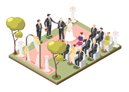 Wedding isometric composition of holiday ceremony with father of bride leading daughter to altar vector illustration