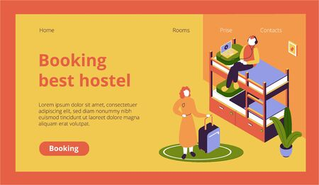 Isometric website page with hostel guests with luggage in dormitory 3d vector illustration