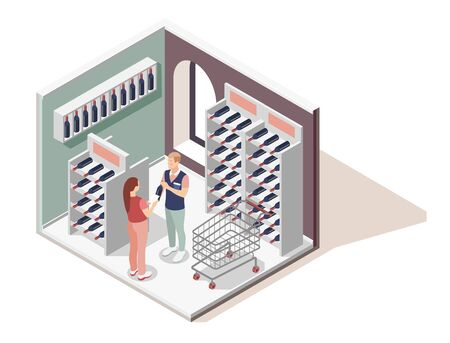 Promoter isometric design concept with shopping assistant helping customer in choice of wines in wine shop vector illustration 일러스트