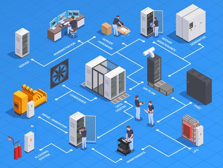 Data center equipment personnel isometric flowchart with generator server hardware maintenance administration airflow system blue background vector illustration