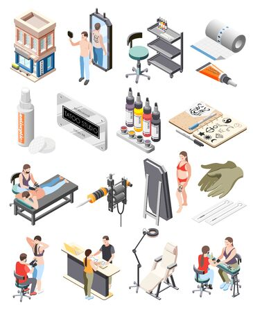 Tattoo studio isometric icons set with building workstation equipment ink mirror client artist reception process vector illustration