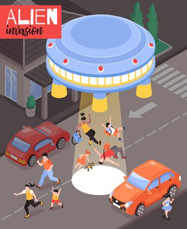 Alien invasion isometric poster with frightened people and flying saucer landed on city roadway vector illustration