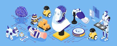 Enges isometrisches Konzept der künstlichen Intelligenz mit Symbolen für Industrie- und Hausroboter isolierte Vektorillustration