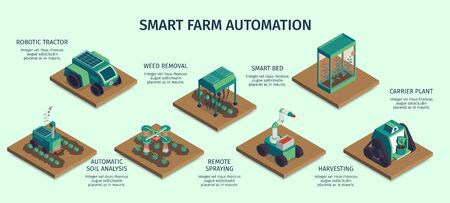 Isometric smart farm horizontal infographics with square platforms carrier plants and robotic machinery with text captions vector illustration