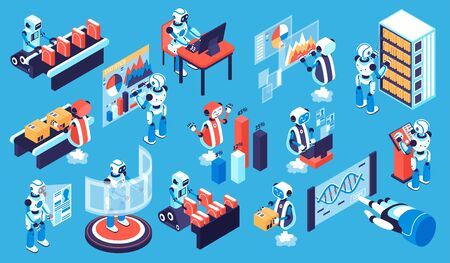 Robotic process isometric set with new technology symbols isolated vector illustration