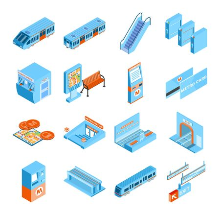 Metro isometric icons set with train tickets tunnel escalator turnstile isolated on white background 3d vector illustration