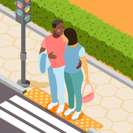 Different couples isometric background with african man and european woman meeting in city park vector illustration Illustration