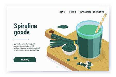 Spirulina isometric web site landing page with editable text links and cutting board with pills and powder