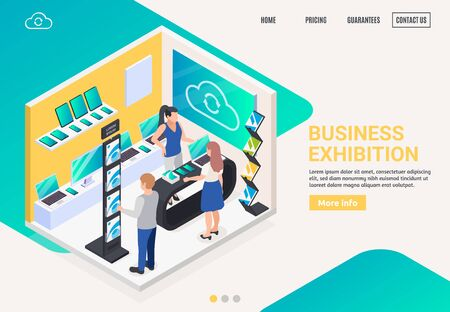 Modern business innovative electronic products promotion stand display offer isometric composition website landing page banner