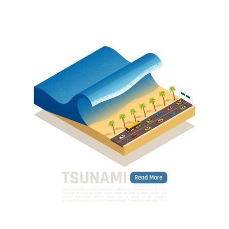 Natural disaster isometric composition with piece of earth and tsunami on the beach