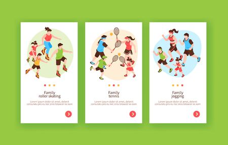Sportive family outdoor activities 3 vertical web banners