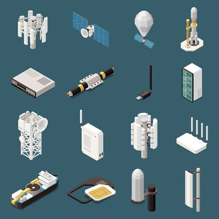 3d set of isometric icons with various equipment