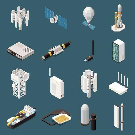Set 3d di icone isometriche con varie attrezzature Vettoriali