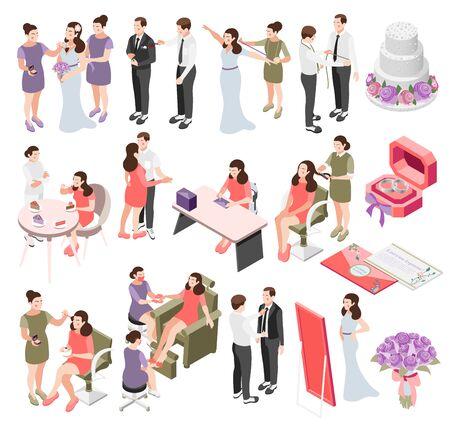 Wedding planning isometric icons set Standard-Bild - 133602485