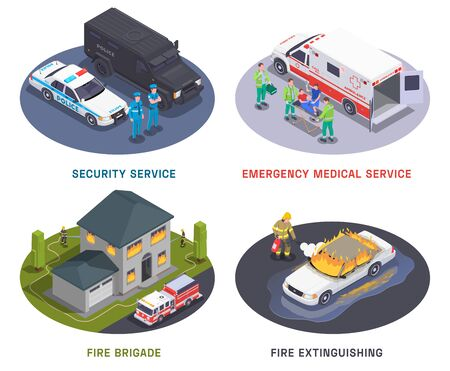 Emergency service 4 isometric compositions Illustration