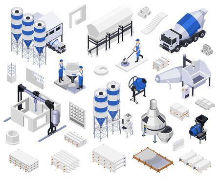 Set van isometrische pictogrammen voor de productie van betoncement Vector Illustratie