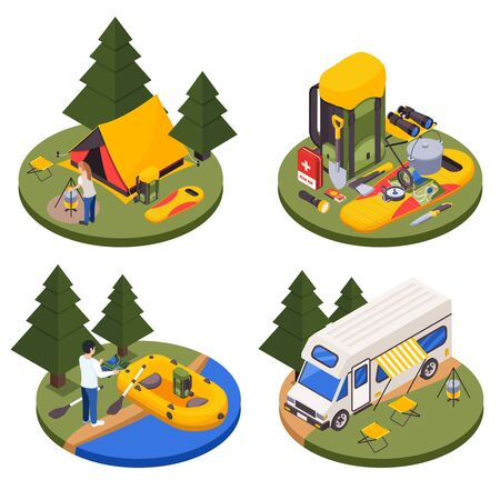 Camping hiking touristic isometric set of four round platforms with outdoor compositions