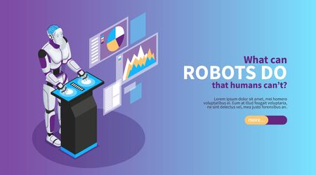 Artificial intelligence isometric poster with robot benefits symbols