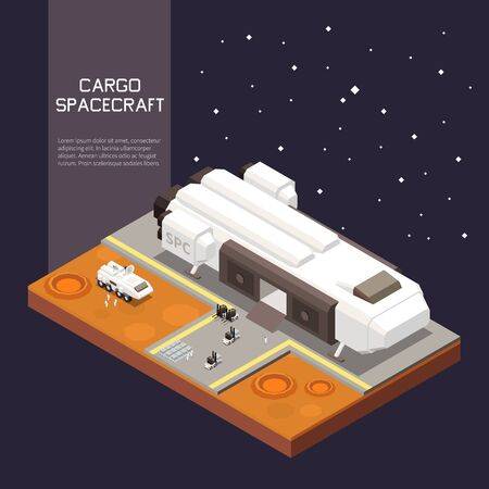 Cargo loading process into space ship 3d isometric Vector Illustration