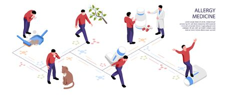 Isometric infographics with different allergens and people taking allergy relief medicine Illusztráció