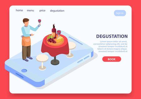 Wine production page design with degustation symbols isometric 일러스트
