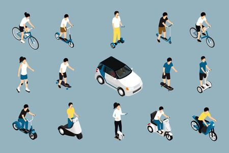 Personal eco green transportation isometric icon Illustration