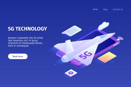 Isometric 5g internet horizontal banner with color images of smartphone airplane and clickable links with text vector illustration Illustration