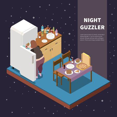 Isometrisches Konzept der Völlerei mit Nachtfressern, die Lebensmittel aus dem Kühlschrank nehmen