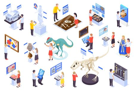 Modern museum technology isometric set with virtual reality interactive exhibits Illustration