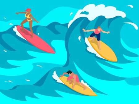 Experienced surfers paddle into towed onto high waves using larger longer boards colorful isometric composition Ilustração