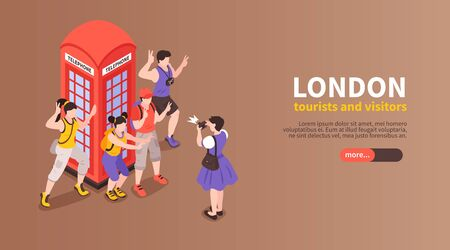 London horizontal banner with tourists and visitors photographed next to red telephone box
