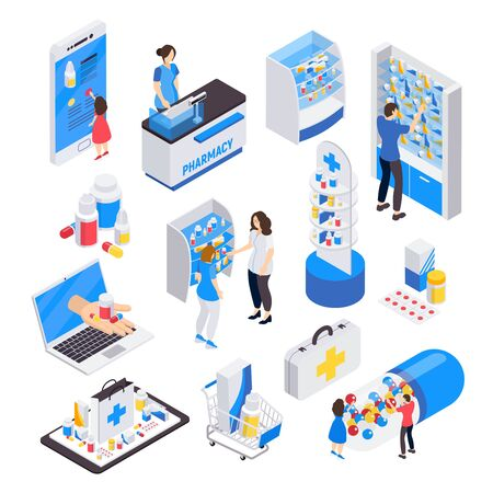 Pharmacy isometric colored icons set of visitors polite staff and stands of medicines isolated vector illustration