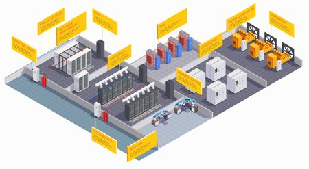 Composición isométrica interior del centro de datos con equipo y sala de administración. Ilustración de vector